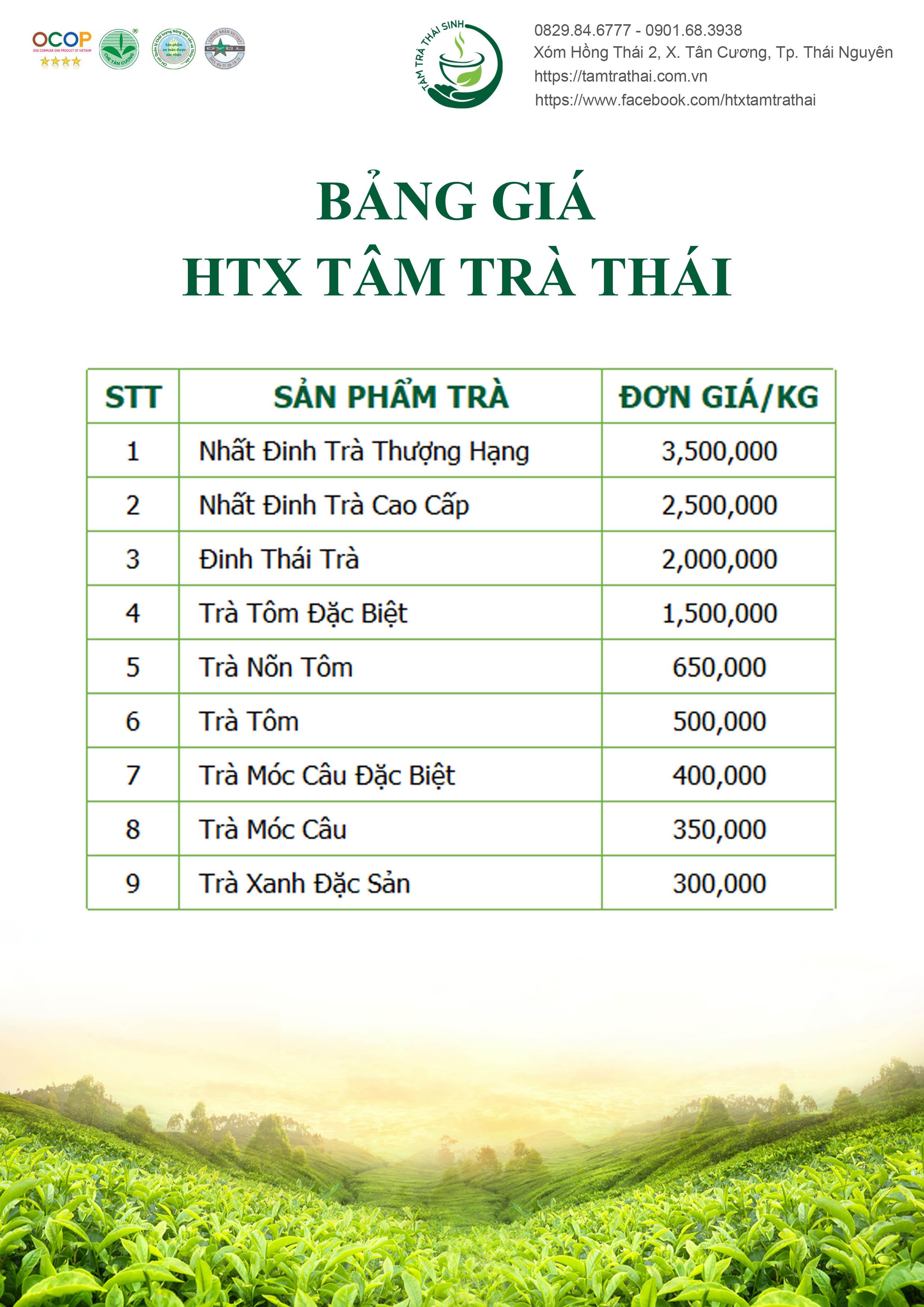 bảng giá trà thái nguyên